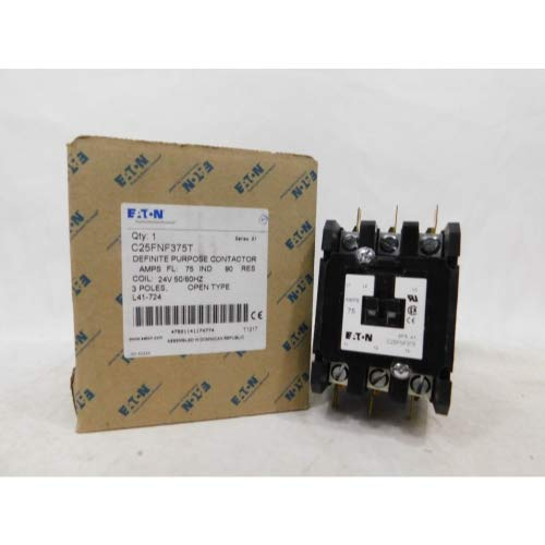 480vac Coil Pole Single Contactor (Eaton C25FNF375T Definite Purpose Contactor, 50mm, 3 Poles, Box Lugs, Quick Connect Side By Side Terminals, 75A Current Rating, 55 Max HP Single Phase at 115V, 20 Max HP Three Phase at 230V, 50 Max HP Three Phase at 480V, 24VAC Coil Voltage)