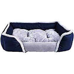 Clearance Christmas Dog Cuddler Bed,Puppy Cushion House Soft Plush Thick Pet Sofa Kennel Cushion Small Puppy Cats (Dark Blue, M)