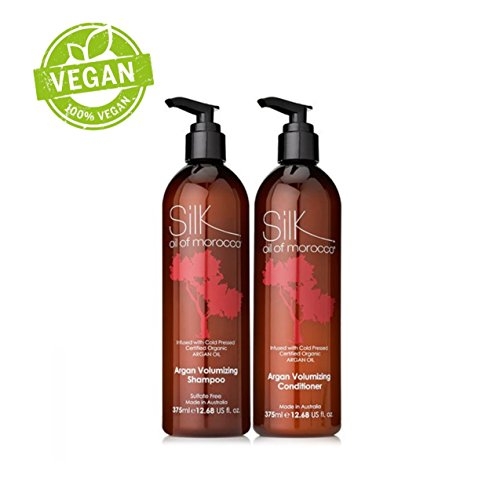 Silk Oil of Morocco Volumising Conditioner and Volumising Shampoo - Shampoo and Conditioner Set- Argan Oil Conditioner, Argan Oil Shampoo, Sulfate Free - Conditioner for FINE HAIR, Conditioner for OILY HAIR, Conditioner For THIN HAIR - Hair Thickening Shampoo - Hair Thickener and Hair Volumiser - Enriched with ARGAN OIL and MACADAMIA OIL - Light Hair Moisturiser which gives Amazing Volume - Hair Volumizer - Get Amazing Body and Shine and does not Weigh Hair Down with Root Lift! 375ml each