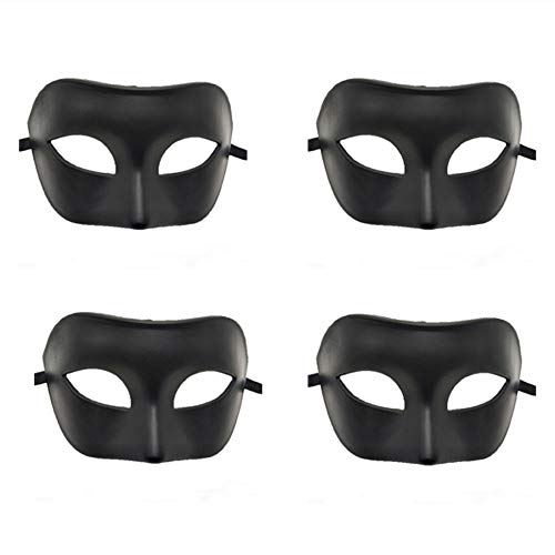 Rehot Vintage Antique Masks Carnival Mardi Gras Party Halloween Christmas Mens Masquerade Mask Bulk (4 Piece Black)