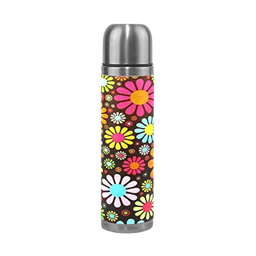 Flower Power Leather - EAKLLCI Water Bottle Double Wall Vacuum Cup Insulated Stainless Steel Hippy Flower Power PU Leather Travel Mug Christmas Birthday Gifts