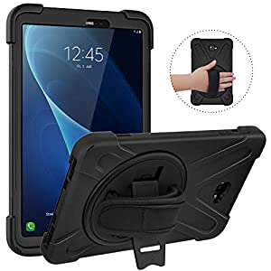 "MoKo Samsung Galaxy Tab A 10.1 Case, [Heavy Duty] [Shockproof] Full-Body Hybrid Rugged 360 Degree Rotating Stand Cover for Galaxy Tab A 10.1"" Tablet (No S Pen Version Sm-T580/T585) - Black"