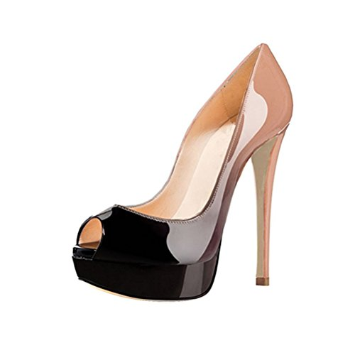 Party Slip Nude for Wedding High MIUINCY Platform black Pump Dress Heel Women's Stiletto Shoes on Toe Peep q0x6FZq