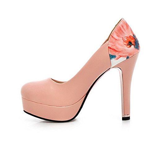 AllhqFashion Damen Rund Zehe Ziehen auf PU Leder Hoher Absatz Pumps Schuhe Pink