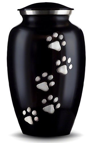 Best Friend Services Ottillie Paws Series Pet Urn Ebony Vertical Pewter Paws (Small)