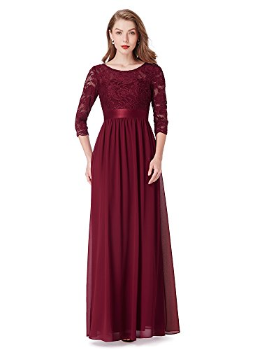 Ever-Pretty Women Lace Elegant 3/4 Sleeve Empire Waist Maxi Bridesmaid Dresses US 8 Burgundy