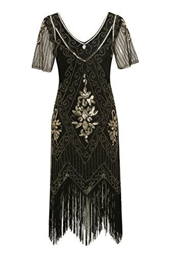 Metme Roaring Twenties Dresses, Women's Roaring 1920s Gatsby Dresses Short Sleeve Black Dress Cocktail Flapper Dress Black + Gold, Small, US 8-10 -