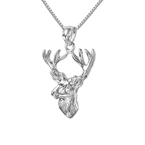 Sterling Silver Italian Made Box - Sterling Silver Deer Charm / Pendant, Made in USA, 18