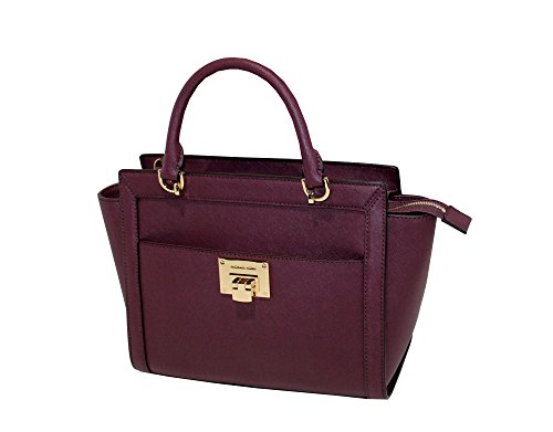 MICHAEL Michael Kors TINA LARGE TOP ZIP Women's Shoulder Handbag SATCHEL (Plum) by MICHAEL Michael Kors