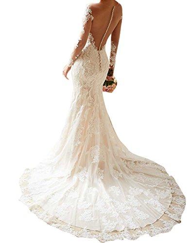 Topquality2016 Donna Guardare Attraverso Illusione Pizzo Sirena Scollatura Gioiello Manica Lunga Abiti Da Sposa Vestito Da Sposa Taglia 46 Bianco