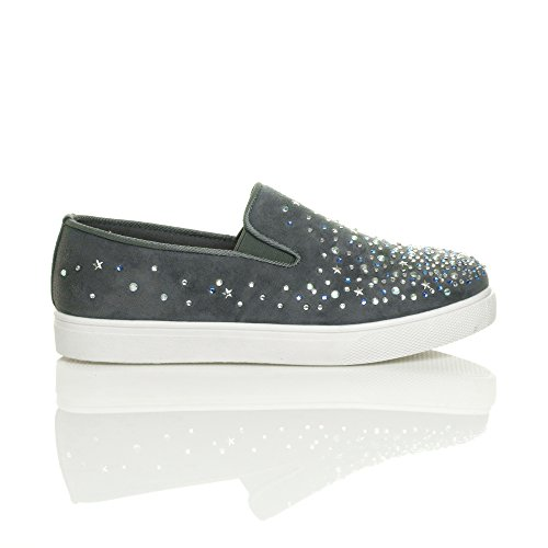 Ajvani Womens Ladies Flat Diamante Jewelled gem Plimsoles Trainers Sneakers Size Grey 89n1Ist6E