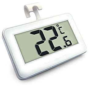Fredhome Digital Fridge Freezer Room Thermometer with Magnet Hanging Hook (White)