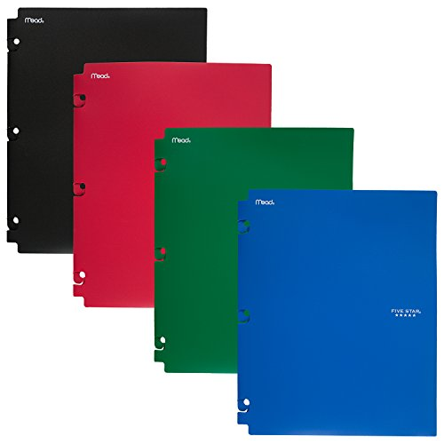 (Five Star 2-Pocket Folders, Snap-In Binder Folder, Assorted Primary Colors, 4 Pack (73266))