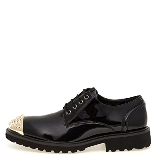 J75 by Jump Men's Jethro Spiked Narrow Toe Lace-Up Dress Casual Oxford Black Patent q5D4gfNfwX
