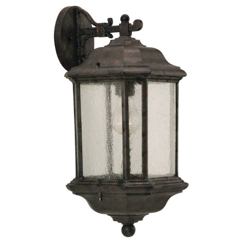 Sea Gull Lighting 84030-746 Outdoor Sconce with Clear Beveled Glass Shades, Oxford Bronze Finish