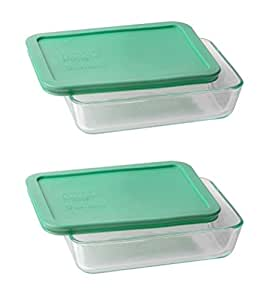 pyrex 3 cup rectangle glass food storage set container pack of 2 containers. Black Bedroom Furniture Sets. Home Design Ideas