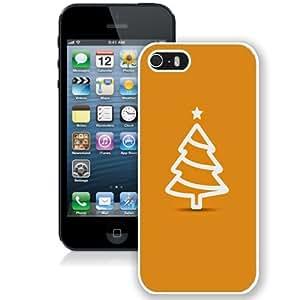 NEW Unique Custom Designed iPhone 5S Phone Case With Minimal Flat Christmas Tree Illustration Orange_White Phone Case