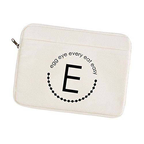 Canvas Laptop Sleeve Case Alphabet E, Egg Eye Every Eat Easy Style In Print 12