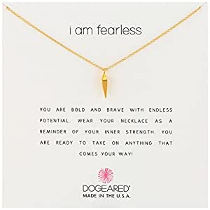 """Dogeared Reminders- """"I Am Fearless"""" Gold Dipped Sterling Silver Faceted Spear Charm Necklace, 16""""+2"""" Extender"""