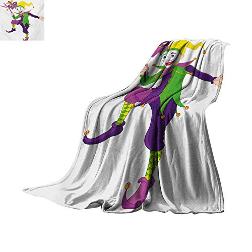 Mardi Gras Weave Pattern Blanket Cartoon Style Jester in Iconic Costume with Mask Happy Dancing Party Figure Summer Quilt Comforter 60