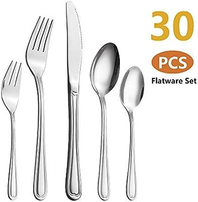 Velaze Juego de Cubiertos Set 30 Piezas de Acero Inoxidable 18/10 Vajilla para 6 Personas, 6 Cuchillo de Mesa, 6 Tenedor, 6 Cuchara, 6 Tenedor Postre, 6 Cucharas de té - Plata (F30): Amazon.es: Hogar