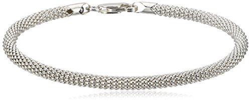 Sterling Silver Round Popcorn Mesh Chain Bracelet, 7.5