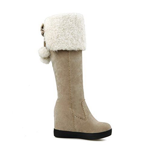 Allhqfashion Boots Beige Frosted Solid Heels Toe Round High Closed Women's qrOCq4