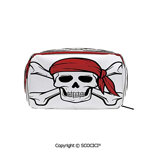 Rectangle Organizer Toiletry Makeup Bags Pouch Dead Pirate Skull and Crossbones Red Bandana Scary Bandit Warning Icon Piracy Portable Makeup Brushes Bag -