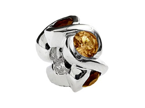 SilveRado Sterling Silver Simulated Citrine Bead / Charm (Bead Silverado Charm)