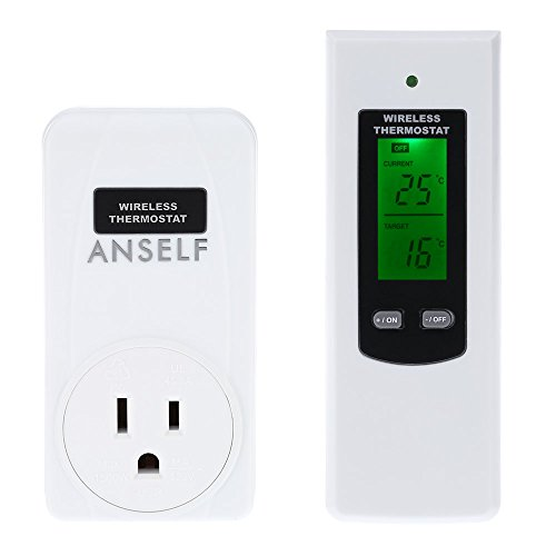 Anself RF 433MHz Wireless Thermostat Plug Automatic Temperature Controller Plug &Play Remote Control