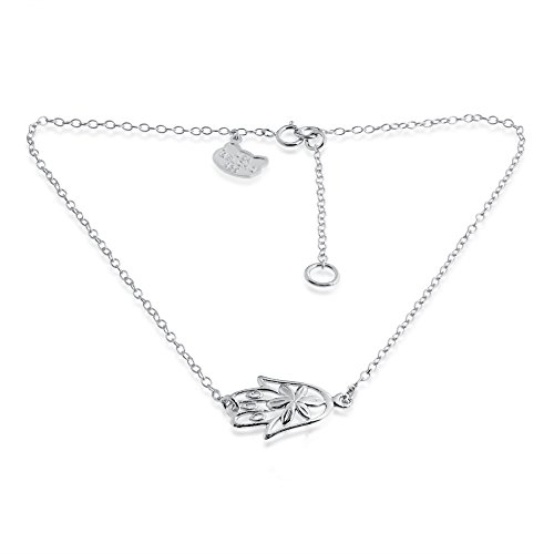 Hamsa Hand with Flower Detail Anklet 14k Plated/ 925 Sterling Silver (sterling-silver)