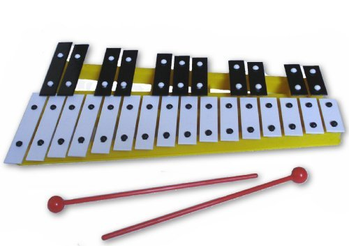 Yellow 27 Key Chromatic Glockenspiel Xylophone - Notes Engraved into Metal Keys by Pro Kussion