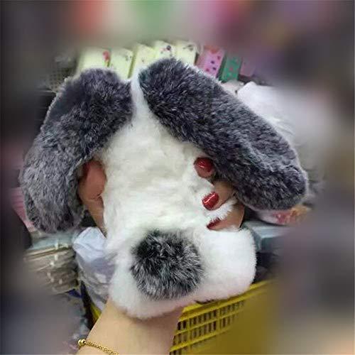 Case for iPhone 4/4S,Luxury Cute Winter Warm Handmade Bling Diamond Rabbit Bunny Furry Fuzzy Soft Rabbit Fur Hair Plush Case for Apple iPhone 4/4S(Rabbit Whiteblack) (Bunny 4 Case Rabbit Iphone)