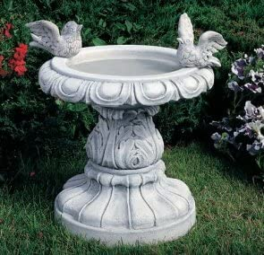 Bebedero para pájaros con un pájaro Gartendeko jardín escultura de hormigón mecanismo de piedra: Amazon.es: Hogar