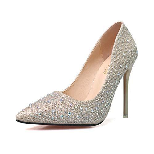(Kyle Walsh Pa Women Fashion Pumps Rhinestone Pointed Toe Stiletto Ladies Elegant High-Heel Office Banquet Shoes)