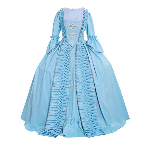 CosplayDiy Women's Rococo Ball Gown Gothic Victorian Dress Costume (S, Blue) -