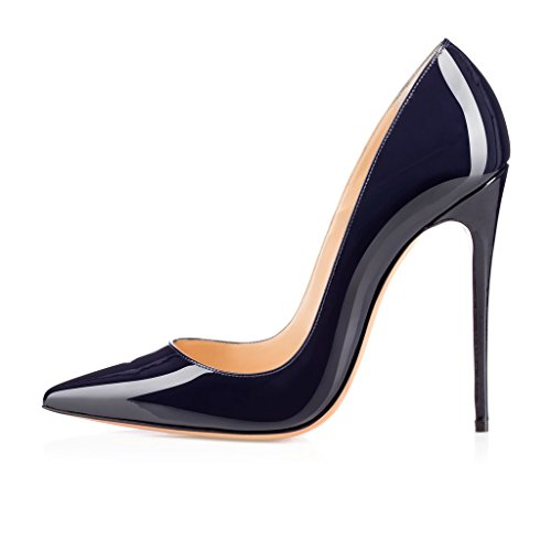 ELASHE Women High Heels Pumps | Pointed Toe Slip On Stiletto | 12cm Elegante Court Shoes Patent-Navy Gbzg0dKAGu