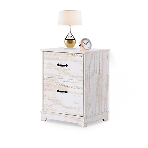Nightstand with 2 Drawer in White Oak End Table by DEVAISE