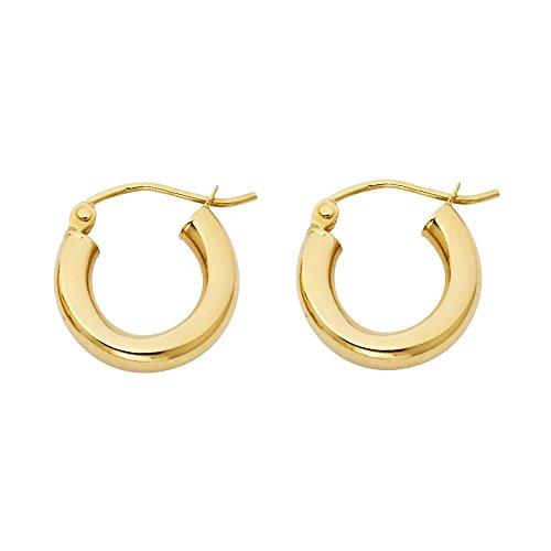 14k Yellow 3mm Hoop Earrings - 14k Yellow Gold 3mm Thickness Hoop Earrings (14mm Diameter)