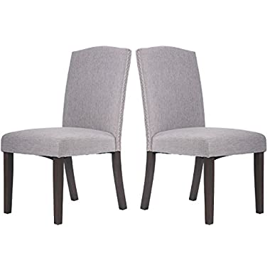 Merax® Dining Chair Dining Room Furniture with Nailed Trim Set of 2 (Grey)