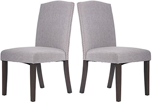 Merax Fabric Dining Chairs Set of 2 with Solid Wood Legs Din