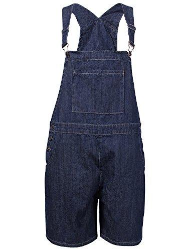 DenimFly Womens Loose Denim Bib Harem Short Jeans Overalls