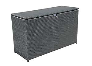 Outdoor Storage Bin Deck Box Patio Aluminum Frame Wicker Cushion Storage Box, Gray