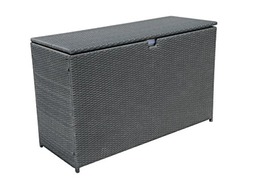 PATIOROMA Outdoor Aluminum Frame Wicker Cushion Storage Bin Deck Box, Gray by PATIOROMA (Image #1)