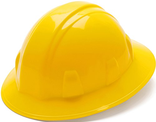 Pyramex Yellow Full Brim Style 4 Point Ratchet Suspension Hard Hat