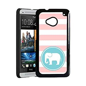 Love Elephants Baby Pink Stripes Circle Hipster HTC One M7 Case - Fits HTC One M7