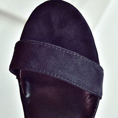 LvYuan Mujer Sandalias Cachemira Verano Paseo Combinación Tacón Bajo Negro Beige Verde 5 - 7 cms Black