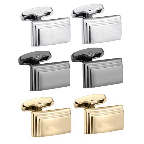 (Zysta 3 Pairs Layering Style Stainless Steel Gold Black Silver Cufflinks Set for Men Back Secure Closure Unique Elegant Tuxedo Shirt Wedding Business Dress)