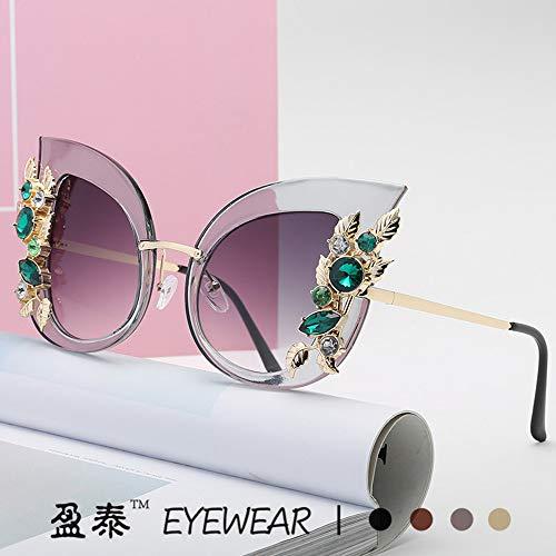 Or Metallique Women Miroité Femme Lunette Fashion Street Plats de Chat de Mode Sunglasses Soleil Lentille Violet Verres Œil aqdnx6Iw8