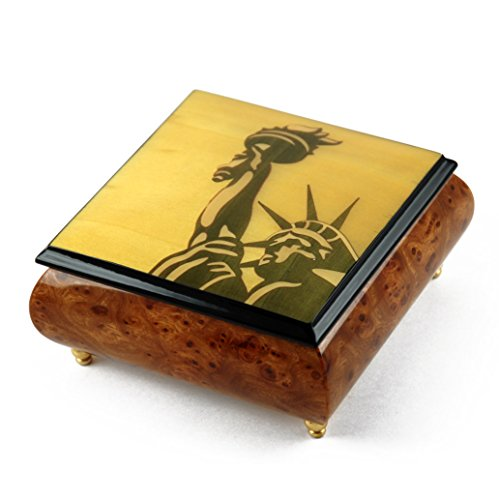 (Iconic Handcrafted Statue of Liberty Wood Inlay Musical Jewelry Box - Over 400 Song Choices - Hark! The Herald Angels)